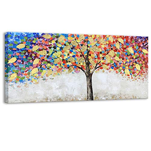 Kas Home Abstract Art - Blooming Gold Leaf and Colorful Flower Tree - Canvas Prints Large Framed Wall Art Wall Paintings for Living Room Bedroom Home Decorations Wall Decor (With Paint Art Wall)