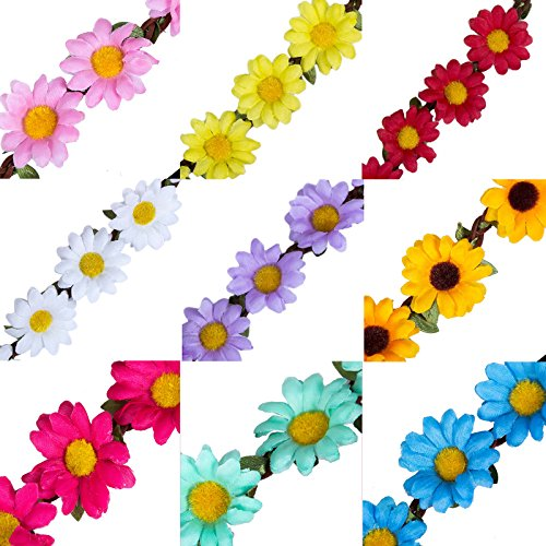 for Hair Multicolor Bohemia Girl Garland Multi Women Pieces AWAYTR Headband style Color Accessories 9 for Festival Floral B Crown Flower Wedding Party Cw8q4qP