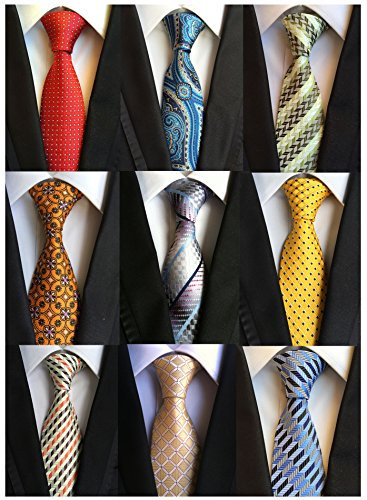 Welen Lot 9 PCS Classic Men's Tie Necktie Woven JACQUARD Neck Ties, Asst. Colors, One Size (Style 03)