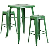 Flash Furniture 23.75'' Square Green Metal Indoor-Outdoor Bar Table Set with 2 Square Seat Backless Stools