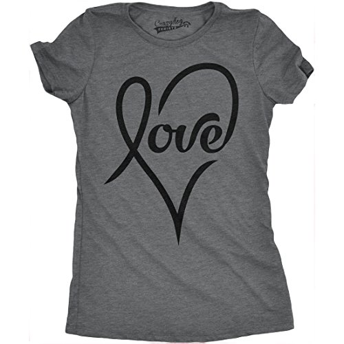 Crazy dog t shirts womens love cursive heart design cute for Crazy t shirt designs