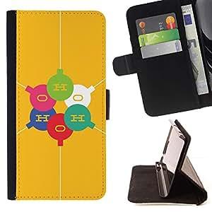 For Sony Xperia Z1 L39 Case , Elementos O H Molécula Amarillo- la tarjeta de Crédito Slots PU Funda de cuero Monedero caso cubierta de piel