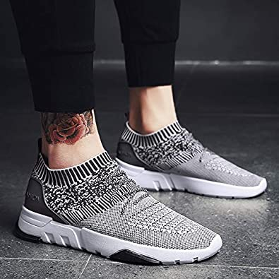 LIAOYLY New Mesh Men Casual Shoes Lace Up Flyknit Lightweight Comfortable Breathable Walking Sneakers Tenis F
