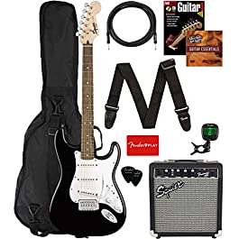 Fender Squier Stratocaster Pack – Black Bundle with Gig Bag, Frontman 10G Amp, Instrument Cable, Tuner, Strap, Picks…