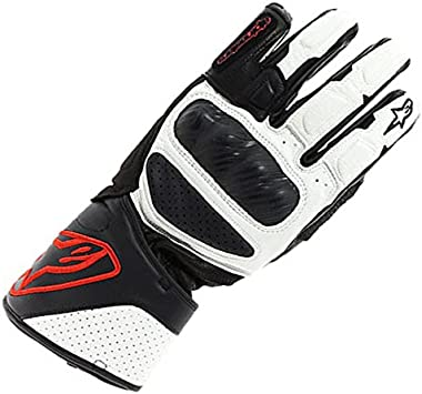 nero Guanti moto in pelle Alpinestars SP-8 V2 bianco rosso