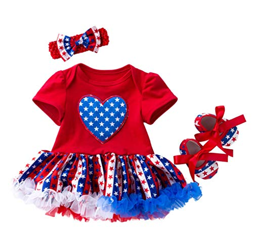 Amberetech 4th of July Outfit Infant Baby Girls Party Costume Flag Style Dress 3Pcs Clothing Set (Style C - Red, 0-3 Months) -