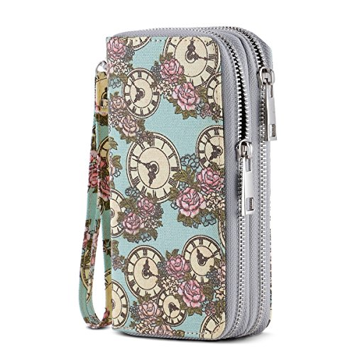 Green Ladies Purse Accessories - HAWEE Cellphone Wallet Dual Zipper Wristlet Purse with Credit Card Case/Coin Pouch/Smart Phone Pocket Soft Leather for Women or Lady, Green Clock