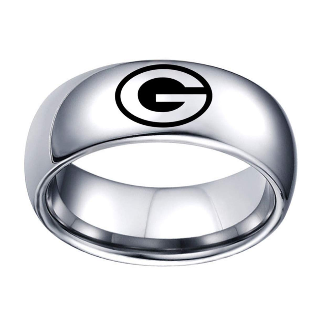 Green Bay Packers Ring Titanium Steel 8mm Silver Jewelry Silver, Size 13 by Tianorr