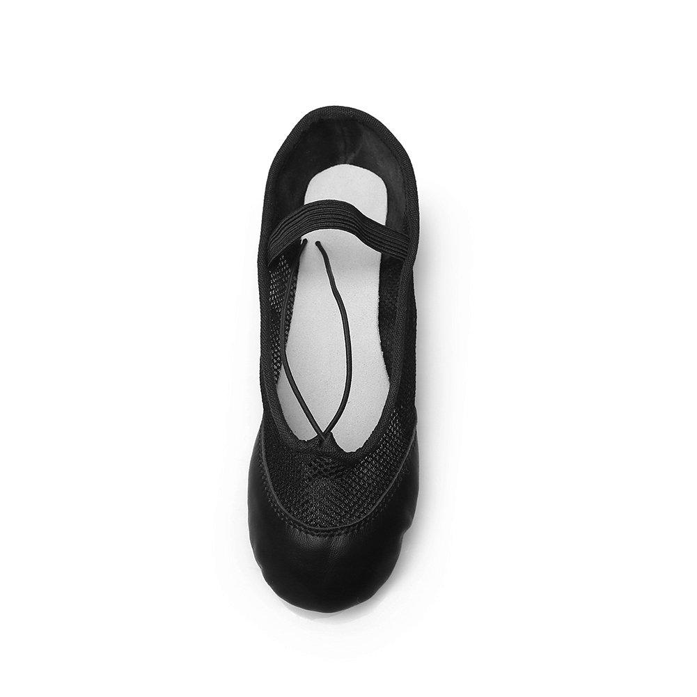 Toddler//Little Kid//Big Kid MSMAX Black Leather with Net Dance Ballet Flats