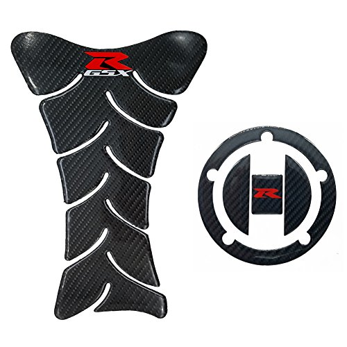 Fiber Carbon Gsxr1300 (Real Carbon Fiber 3D Sticker Vinyl Decal Emblem Protection Gas Tank Pad & Cap Cover For SUZUKI Gixxer GSXR 600 750 2006-2016 / GSXR1000 2007-2008 GSXR1300 Hayabusa 2008-2016)