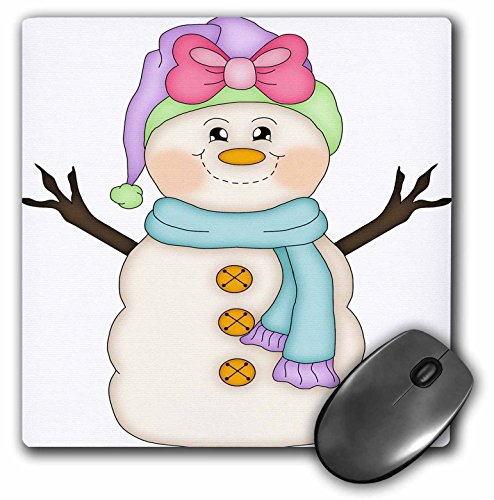 3dRose Anne Marie Baugh - Christmas - Cute Happy Snowman Girl with Pink Bow Illustration - Mousepad (mp_217111_1)