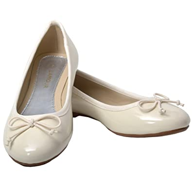 Amazon.com | L'Amour Little Girls 11 Cream Slip On Bow Flat Dress ...