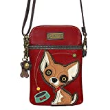 Chala Crossbody Cell Phone Purse - Women PU Leather Multicolor Handbag with Adjustable Strap - Chihuahua - Burgundy