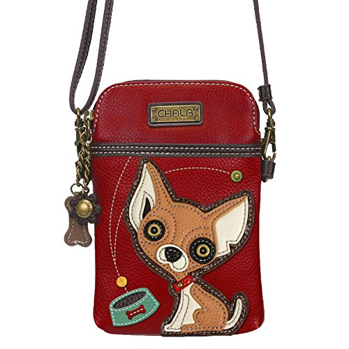 (Chala Crossbody Cell Phone Purse - Women PU Leather Multicolor Handbag with Adjustable Strap - Chihuahua - Burgundy)