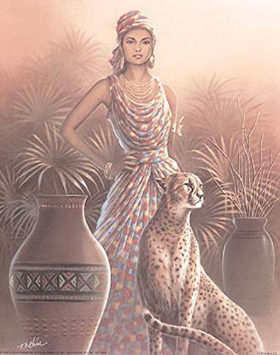 ImpactInt Woman with Cheetah by T.C Chiu Art Print for sale  Delivered anywhere in USA