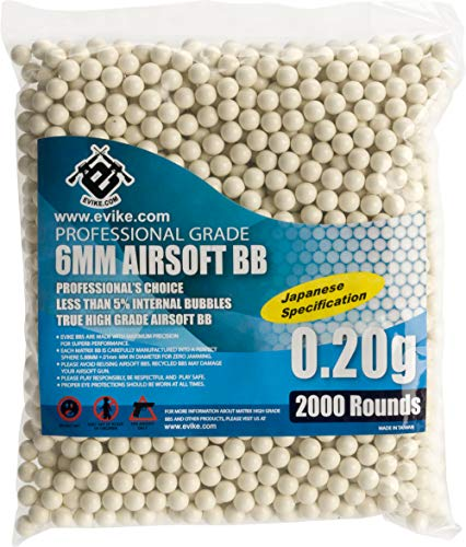 Evike MAX Precision Japanese Spec. 6mm Airsoft BBS (Weight: .20g / 2000 Rounds/White) ()