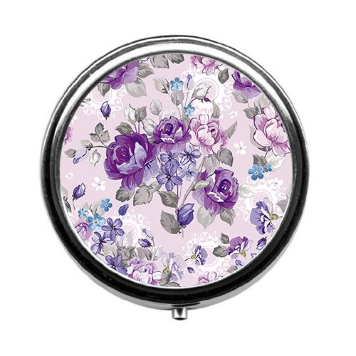 Abstract Boxes - Qien BaiSei Abstract Background with Flowers Pill Box/Pill case-Round Pill Box/case- Three-Compartment Pill Box/Pill case