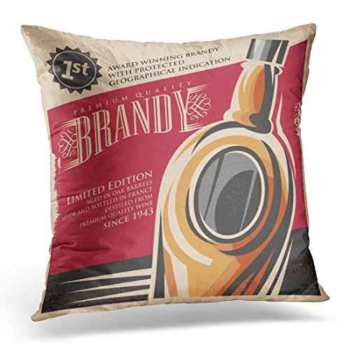 UPOOS Throw Pillow Cover Wine Brandy Vintage Design on Old Retro Drink Creative Printed Media Concept or Sign Whiskey Decorative Pillow Case Home Decor Square 18x18 Inches Pillowcase Cognac Pillow