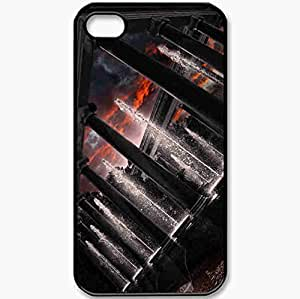 Protective Case Back Cover For iPhone 4 4S Case Columns Statue Fountains Water Beautiful Black