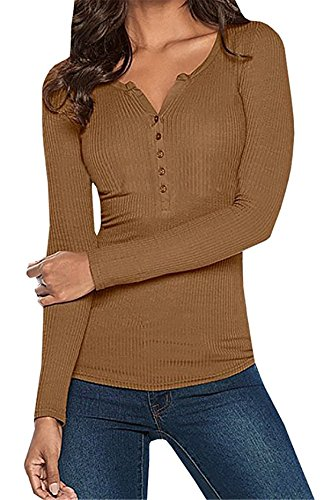 Women's Solid Long Sleeve Stretchy Ribbed Henley Button Up Tops Tees (M, Coffee)