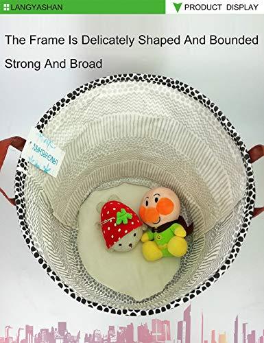LANGYASHAN Laundry Basket Canvas Fabric Collapsible Organizer Basket for Storage Bin Toy Bins Gift Baskets Bedroom Clothes Children Nursery Hamper (Black line)