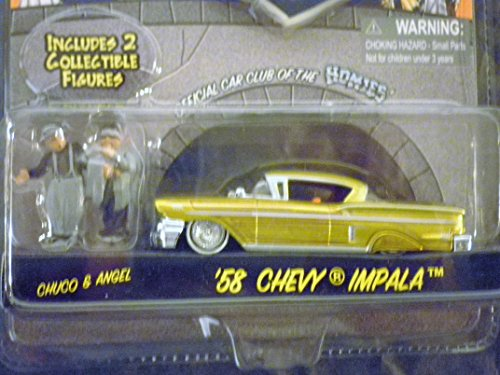 - Homie Rollerz 1958 Chevy Impala Low Rider (Gold/pintripes) with Homies Chuco & Angel by Jada 1/64 Scale die-cast Vehicle