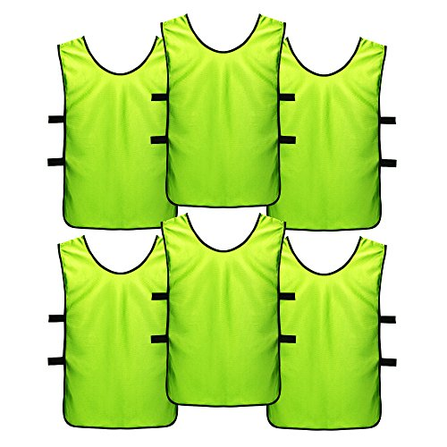 SportsRepublik Soccer Pinnies   Scrimmage Vests (6-Pack) - Perfect as Kids Basketball Jerseys, Youth Football Practice Jerseys or Pennies for Soccer Kids, Youth and Adults - Last Longer, Look Cooler