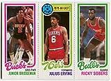 1980/81 Topps Julius Erving Junior Bridgeman Ricky Sobers Dr. J Card Philadelphia 76ers Chicago Bulls, Milwaukee Bucks