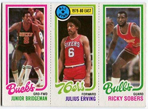 1980/81 Topps Julius Erving Junior Bridgeman Ricky Sobers Dr. J Card Philadelphia 76ers Chicago Bulls, Milwaukee Bucks 1980 Philadelphia 76ers