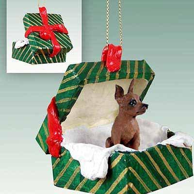 Miniature Pinscher Green Gift Box Dog Ornament - Red