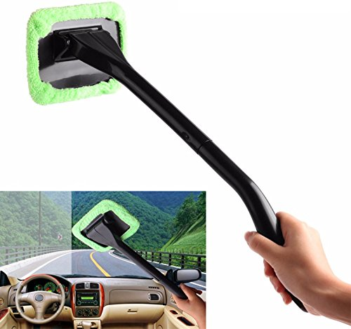 GPCT Windshield Auto Glass Cleaner W/ Long Handle [Microfiber] Wiper for Car, Truck, SUV, Vehicle. Removes Dirt, Dust, & Fingerprints. Comes W/ FREE Water Sprayer & Extra Microfiber Bonnet! (Green) Microfiber Wiper