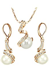 [Pearl Series] Yoursfs Gorgeous Austrian Crystal Bridal Leverback Pearl Dangle Drop Earrings and Necklace Set