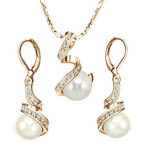 [Pearl Jewelry] Yoursfs Elegant Austrian Crystal Jewelry Sets Bridal 18k Gold Plated Leverback Earrings & Pendant Sets Grey Pearl Earrings and Necklace Set
