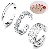 Besteel 3Pcs Toe Rings for Women Girls Adjustable Open Toe Ring Gifts Jewelry Set