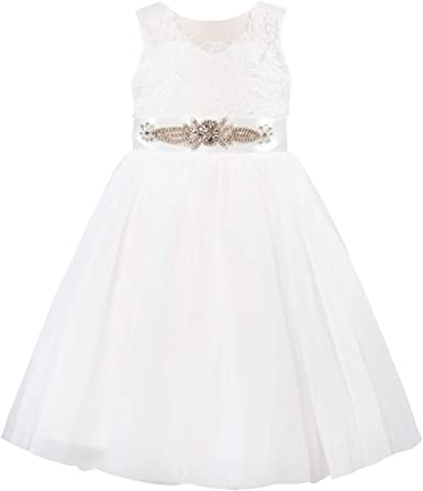 JEATHA Flower Girl Dress Sleeveless Lace Sequined Rhinestones Lace A-Line Wedding Party Ball Gown Junior Bridesmaid Dress