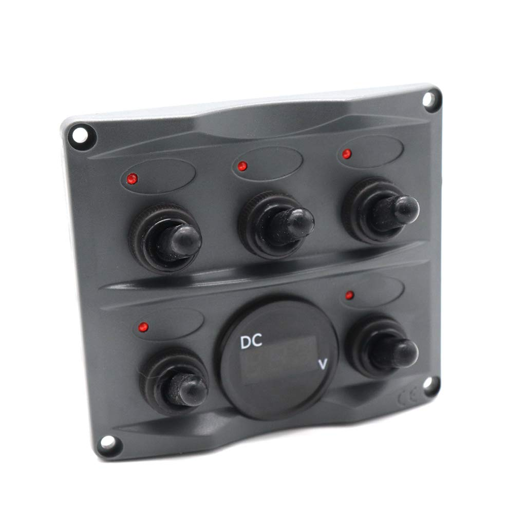 24V-Boots-Auto Bus Control Button Panel Voltmeter Dpolrs 5-Kanal-Kippschalter EIN//Aus-Panel LED-Anzeigelampe 12