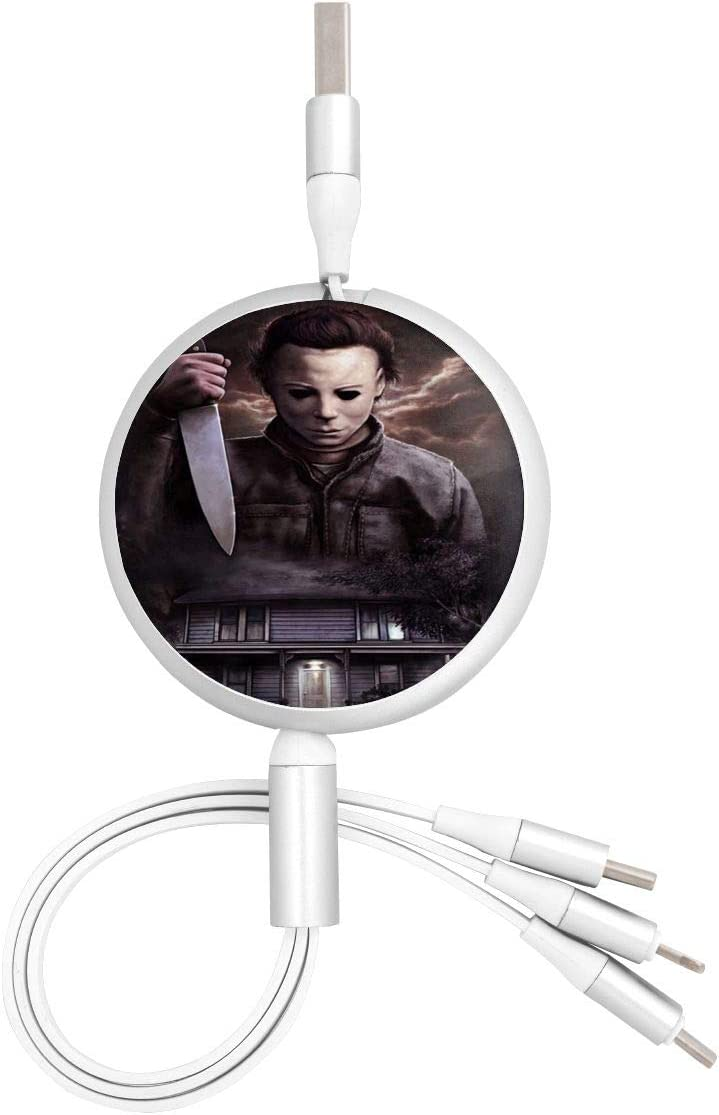 Cool-Michael-Myers USB Round Three-in-One Material Data ABS Cables Multi USB Charger CableRetractable Multiple Fasts Chargings Data line Protective Case