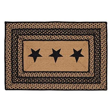 Farmhouse Star Stencil Star Braided Jute Rug, Rectangular - 24X36