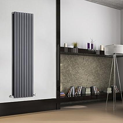 Hudson Reed DRAFP28 - Radiador Calentador Decorativo Plano Diseño Vertical Doble - Acero - Acabado Gris