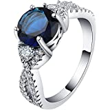 women royal blue round CZ Engagement 18kt white Gold filled Ring Size 7-10 LOVE STORY (9)