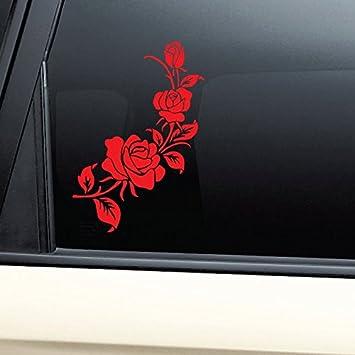 Motorbike Car Vinyl Sticker Decal Red Rose Skull