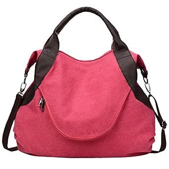 Fanspack Vintage Canvas Hobo Handbags Top Handle Shoulder Tote Shopper Handbag for Women (Red)
