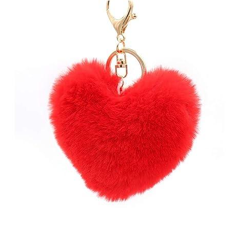 Cosanter Moda de Forma de Corazón Felpa Llavero Mullido ...