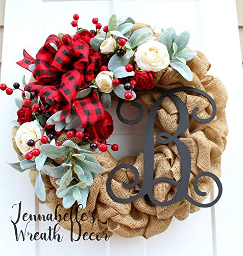 Buffalo Check Christmas Wreath.Christmas Wreath For Front Door Burlap Wreath Lambs Ear