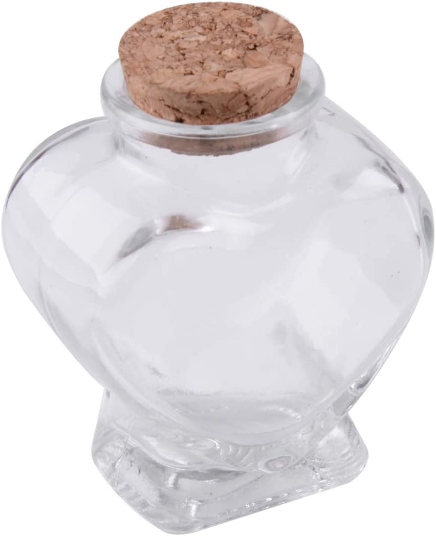 Mini Heart Shape Glass Favor Storage Jars Bottle Containers Cork Gifts