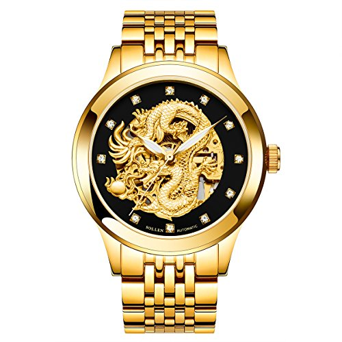 - Men's Gold Watch,Stainless Steel Luxury Dragon Carved Dial Automatic Watch, Waterproof Wrist Watch SL-602 (Gold+Black+Full Gold)