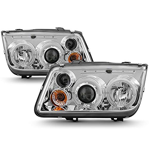 [For 1999-2005 Volkswagen VW A4 Jetta] LED Halo Ring Chrome Projector Headlight Headlamp Assembly, Driver & Passenger ()