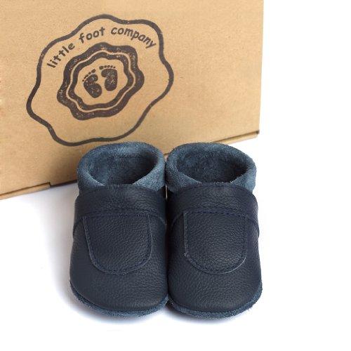 Deutschland In Babypuschen Little Markenqualität Handgemachte Aus Komfortleder Foot Krabbelschuhe Weiches Marineblau Company® TzavXT