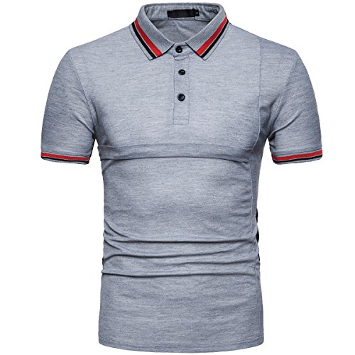 Cottory Mens Slim Fit Short Sleeve Advantage Stripe Polo Light Gray X-Small