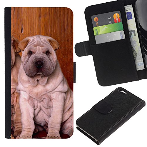 EuroCase - Apple Iphone 6 4.7 - shar pei puppies sitting wrinkled dog - Cuir PU Coverture Shell Armure Coque Coq Cas Etui Housse Case Cover